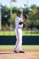 Glendale Desert Dogs starting pitcher Chris Lee (63), of the Baltimore Orioles organization, gets ready to deliver a pitch during an Arizona Fall League game against the Mesa Solar Sox at Camelback Ranch on November 12, 2018 in Glendale, Arizona. Glendale defeated Mesa 4-2. (Zachary Lucy/Four Seam Images)