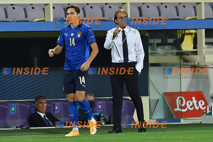 Federico Chiesa of Italy and Roberto Mancini coach of Italy during the Uefa Nation League Group Stage A1 football match between Italy and Bosnia at Artemio Franchi Stadium in Firenze (Italy), September, 4, 2020. Photo Massimo Insabato / Insidefoto