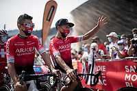 brothers Nairo & Dayer Quintana (COL/Arkea-Samsic) at the race start in Megève<br /> <br /> Stage 5: Megève to Megève (154km)<br /> 72st Critérium du Dauphiné 2020 (2.UWT)<br /> <br /> ©kramon