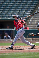 Tacoma Rainiers shortstop Zach Vincej (3) follows through on his swing during a Pacific Coast League against the Sacramento RiverCats at Raley Field on May 15, 2018 in Sacramento, California. Tacoma defeated Sacramento 8-5. (Zachary Lucy/Four Seam Images)