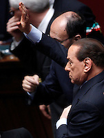 Il leader del Popolo della Liberta' Silvio Berlusconi attende di votare dopo essere arrivato in ritardo alla prima seduta comune di senatori e deputati per l'elezione del nuovo Capo dello Stato alla Camera dei Deputati, Roma, 18 aprile 2013..Italian People of Freedom party's leader Silvio Berlusconi waits to vote during the first common plenary session of senators and deputies to elect the new Head of State, at the Lower Chamber in Rome, 18 April 2013..UPDATE IMAGES PRESS/Riccardo De Luca.