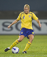 Sweden defender (4) Hanna Marklund. Sweden (SWE) tied Nigeria (NGA) 1-1 during a FIFA Women's World Cup China 2007 opening round Group B match at Chengdu Sports Center Stadium, Chengdu, China, on September 11, 2007.