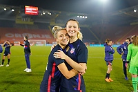 BREDA, NETHERLANDS - NOVEMBER 27: Sisters Kristie Mewis #22 and Samantha Mewis #3 of the United States celebrate together after they're win over the Netherlands during a game between Netherlands and USWNT at Rat Verlegh Stadion on November 27, 2020 in Breda, Netherlands.