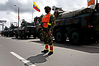 BOGOTA, COLOMBIA - MAY 05 : Soldiers stand guard near their tanks during the National strike on May 5, 2021 in the outskirts of Bogota, Colombia. Ahead of further planned protest in the country, Amnesty International has published evidence of excessive use of force being used against protesters by the security forces United Nations, European Union and rights bodies joined at criticism, official data show  19 people were killed and 846 injured during  clashes with the security forces. (Photo by Leonardo Munoz/VIEWpress)
