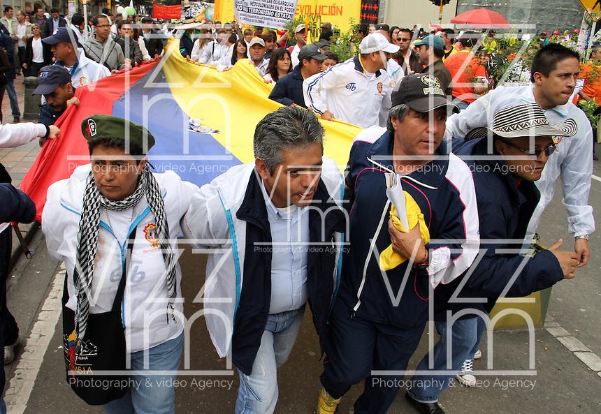 BOGOTA-COLOMBIA-1-05-2013.  Marcha de los trabajadores en el primero de mayo . Workers march on May.( Photo / VizzorImage / Felipe Caicedo / Staff).