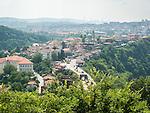 The city of Veliko Tarnovo from the top of Tsarevets Hill, Bulgaria