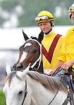 09 May 16:  Calvin Borel rides filly Rachel Alexandra in the post parade before winning the 134th running of the grade 1 Preakness Stakes for three year olds at Pimlico Race Track in Baltimore, Maryland.
