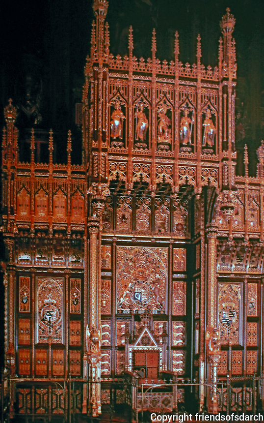 Throne in House of Lords. Augustus Pugin, 1847. London.