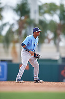 Tampa Bay Rays Wander Franco (4) during an Instructional League game against the Baltimore Orioles on October 2, 2017 at Ed Smith Stadium in Sarasota, Florida.  (Mike Janes/Four Seam Images)