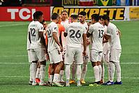 ATLANTA, GA - SEPTEMBER 02: The starters for Inter Miami CF huddle prior to the opening kickoff during a game between Inter Miami CF and Atlanta United FC at Mercedes-Benz Stadium on September 02, 2020 in Atlanta, Georgia.