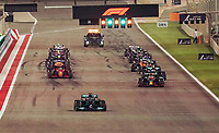 28th March 2021; Sakhir, Bahrain; F1 Grand Prix of Bahrain, Race Day;   Start of formation lap as Lewis Hamilton GBR 44, Mercedes-AMG Petronas Formula One Team pulls far ahead of leader Max Verstappen NEL 33, Red Bull Racing Honda  and has to slow down to allow Verstappen to lead