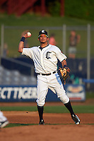 Connecticut Tigers third baseman Steven Fuentes (56) throws to first during the first game of a doubleheader against the Brooklyn Cyclones on September 2, 2015 at Senator Thomas J. Dodd Memorial Stadium in Norwich, Connecticut.  Brooklyn defeated Connecticut 7-1.  (Mike Janes/Four Seam Images)