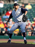 Charlotte Knights Pitcher Jeffrey Marquez delivers a pitch during a game vs. the Rochester Red Wings at Frontier Field in Rochester, New York;  June 17, 2010.   Charlotte defeated Rochester by the score of 9-2.  Photo By Mike Janes/Four Seam Images