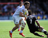 Luke Cowan-Dickie of Exeter Chiefs goes past Jacques Burger of Saracens