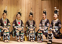 Zhaoxing, Guizhou, China.  Traditional Musical Performance by Women of the Dong Ethnic Minority.