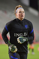 goalkeeper Lize Kop (16) of The Netherlands  pictured during a friendly female soccer game between the national teams of Belgium , called the Red Flames and The Netherlands , called the Oranje Leeuwinnen in a pre - bid tournament called Three Nations One Goal with the national teams from Belgium , The Netherlands and Germany towards a bid for the hosting of the 2027 FIFA Women's World Cup , on Thursday 18 th of February 2021  in Brussels , Belgium . PHOTO SPORTPIX.BE   SPP   DIRK VUYLSTEKE