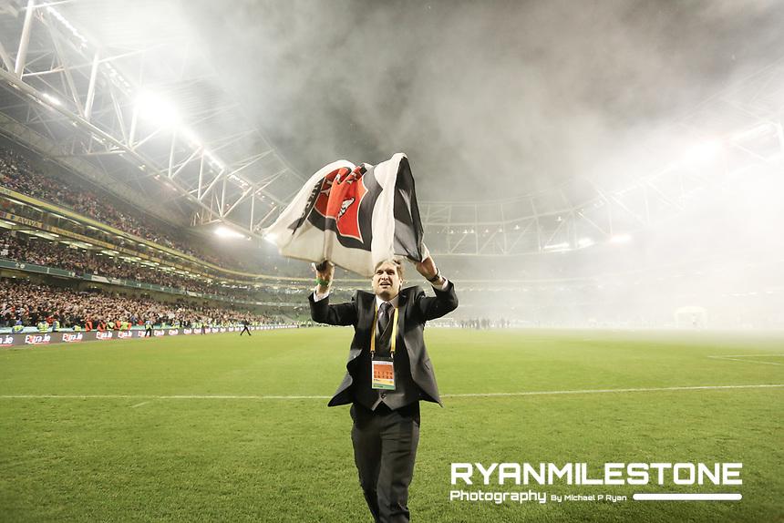 Dundalk chairman Mike Treacy celebrates at the end of the Irish Daily Mail FAI Cup Final between Dundalk and Cork City, on Sunday 4th November 2018, at the Aviva Stadium, Dublin. Mandatory Credit: Michael P Ryan.