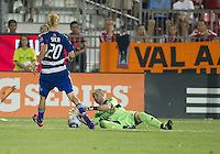 FC Dallas defender/midfielder Brek Shea #20 and Toronto FC goalkeeper Stefan Frei #24 in action during an MLS game between the FC Dallas and the Toronto FC at BMO Field in Toronto on July 20, 2011..FC Dallas won 1-0.