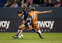 Sky Blue's Keeley Downing battles attacking LA Sol' s Marta. The LA Sol defeated Sky Blue FC 1-0 at Home Depot Center stadium in Carson, California on Friday May 15, 2009.   .