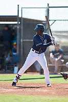 San Diego Padres first baseman Carlos Luis (11) at bat during an Instructional League game against the Milwaukee Brewers at Peoria Sports Complex on September 21, 2018 in Peoria, Arizona. (Zachary Lucy/Four Seam Images)