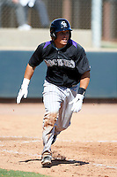 Colorado Rockies minor league catcher Franmy Pena #29 during an instructional league intrasquad game at the Salt River Flats Complex on October 5, 2012 in Scottsdale, Arizona.  (Mike Janes/Four Seam Images)