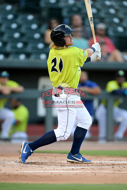 Seconed baseman Nick Conti (21) of the Columbia Fireflies bats in a game against the Hickory Crawdads on Wednesday, August 28, 2019, at Segra Park in Columbia, South Carolina. Hickory won, 7-0. (Tom Priddy/Four Seam Images)