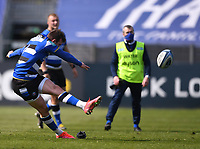 18th April 2021 2021; Recreation Ground, Bath, Somerset, England; English Premiership Rugby, Bath versus Leicester Tigers; Ben Spencer of Bath kicks a penalty goal