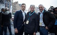 Italian legends and former 'Giro delle Fiandre' winners on the start podium: Andrea Tafi, Felice Gimondi & Francesco Moser<br /> <br /> 100th Ronde van Vlaanderen 2016