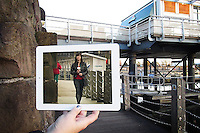Pictured: Filming of Torchwood with Eve Miles in Cardiff Bay<br />