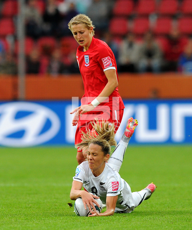 Hayley Moorwood (r) of team New Zealand and Ellen White of team England during the FIFA Women's World Cup at the FIFA Stadium in Dresden, Germany on July 1st, 2011.