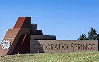Welcome sign, Colorado Springs, Colorado, USA.
