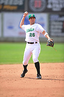 Clinton LumberKings shortstop Johnny Adams (26) in action during the game against the Bowling Green Hot Rods at Ashford University Field on May 2, 2018 in Clinton, Iowa.  (Dennis Hubbard/Four Seam Images)