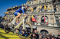 Tom Boonen (BEL/Quick-Step Floors) presenting himself to the morning (start) crowd vor a very last time at the Ronde<br /> <br /> 101th Ronde Van Vlaanderen 2017 (1.UWT)<br /> 1day race: Antwerp › Oudenaarde - BEL (260km)