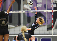 Image, Thursday, September 10, 2020 during a volleyball game at Fayetteville High School in Fayetteville. Check out nwaonline.com/200911Daily/ for today's photo gallery. <br /> (NWA Democrat-Gazette/Charlie Kaijo)