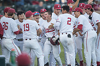 STANFORD, CA - MAY 27: Brock Jones celebrates with the team during a game between Oregon State University and Stanford Baseball at Sunken Diamond on May 27, 2021 in Stanford, California.