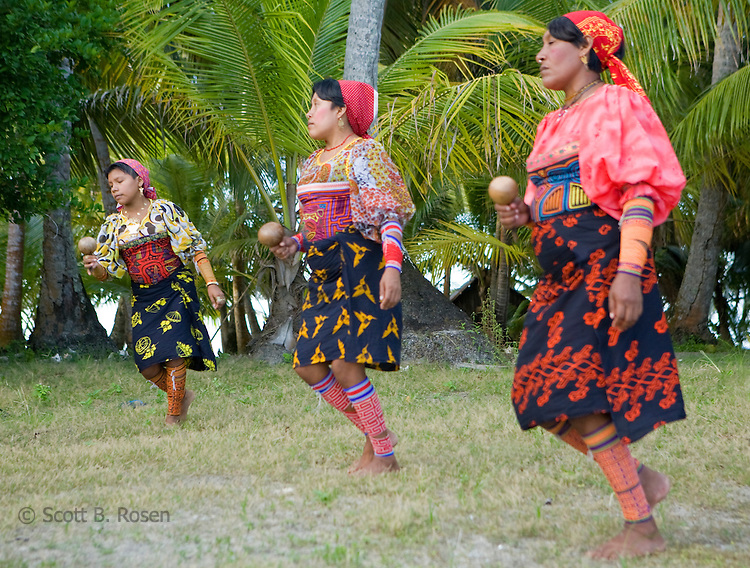 Local Kuna Indians practicing a traditional dance on Isla Pelikano, San Blas Islands, Panama