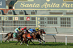 ARCADIA, CA  OCT 3: #7 Mo Forza, ridden by Flavien Prat, takes on the field in the stretch of the City of Hope Mile Stakes (Grade ll) on October 3, 2020 at Santa Anita Park in Arcadia, CA. .(Photo by Casey Phillips/Eclipse Sportswire/CSM.)