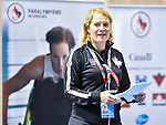MONTREAL, QC - APRIL 29:  Catherine Gosselin Despres addresses the guests during the 2017 Montreal Paralympian Search at Complexe sportif Claude-Robillard. Photo: Minas Panagiotakis/Canadian Paralympic Committee