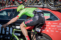 oncoming Sep Vanmarcke (BEL Cannondale-Drapac) crashes (sideways) into a braking BMC team car but is luckily able to continue the race<br /> <br /> 60th E3 Harelbeke (1.UWT)<br /> 1day race: Harelbeke › Harelbeke - BEL (206km)