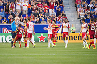 HARRISON, NJ - Wednesday June 24, 2015: Javier Morales receives a red card in the 40th minute.  The New York Red Bulls defeat Real Salt Lake 1-0 at home at Red Bull Arena in regular season MLS play.