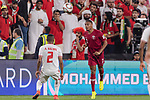Pedro Correia of Qatar (R) fights for the ball with Ali Hassan Ali Salmin of United Arab Emirates (L) during the AFC Asian Cup UAE 2019 Semi Finals match between Qatar (QAT) and United Arab Emirates (UAE) at Mohammed Bin Zaied Stadium  on 29 January 2019 in Abu Dhabi, United Arab Emirates. Photo by Marcio Rodrigo Machado / Power Sport Images