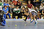 Berlin, Germany, February 10: During the FIH Indoor Hockey World Cup semi-final match between Belarus (dark blue) and Germany (white) on February 10, 2018 at Max-Schmeling-Halle in Berlin, Germany. Final score 2-3. (Photo by Dirk Markgraf / www.265-images.com) *** Local caption *** Lisa ALTENBURG #18 of Germany
