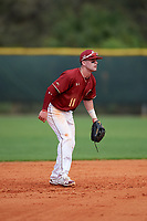Boston College Eagles shortstop Jake Palomaki (11) during a game against the Minnesota Golden Gophers on February 23, 2018 at North Charlotte Regional Park in Port Charlotte, Florida.  Minnesota defeated Boston College 14-1.  (Mike Janes/Four Seam Images)