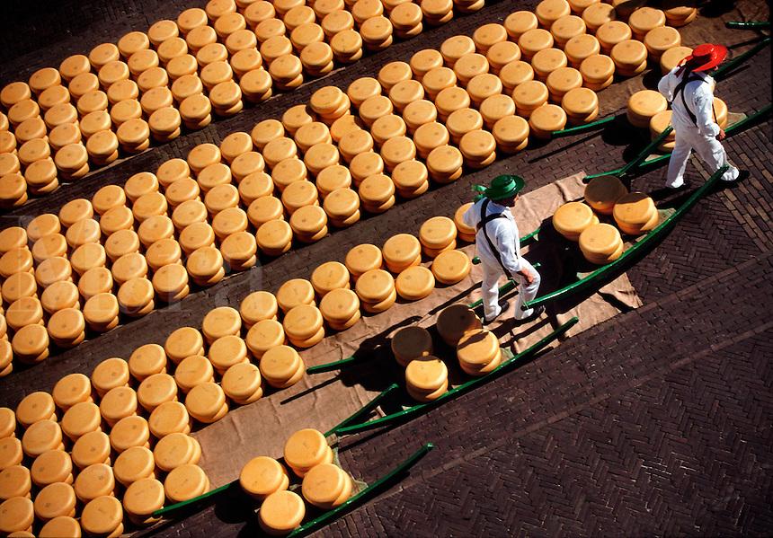 High view of Alkmaar Cheese Market Alkmaar Holland.