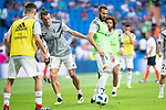 Real Madrid Gareth Bale and Karim Benzema during Santiago Bernabeu Trophy match at Santiago Bernabeu Stadium in Madrid, Spain. August 11, 2018. (ALTERPHOTOS/Borja B.Hojas)