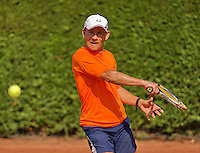 Netherlands, Amstelveen, August 22, 2015, Tennis,  National Veteran Championships, NVK, TV de Kegel,  Men's  60+, Jan Sie<br /> Photo: Tennisimages/Henk Koster