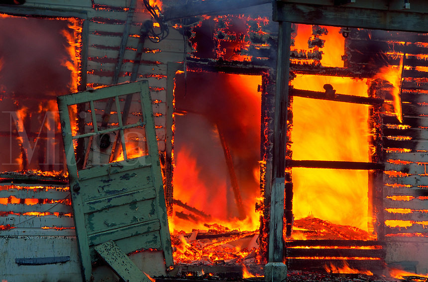 Close-up of burning building, Crescent City, California