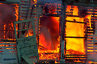 Close-up of burning building, Crescent City, California