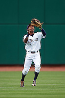 NW Arkansas Naturals outfielder Terrance Gore (3) catches a fly ball during a game against the San Antonio Missions on May 30, 2015 at Arvest Ballpark in Springdale, Arkansas.  San Antonio defeated NW Arkansas 5-1.  (Mike Janes/Four Seam Images)
