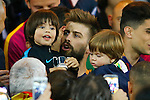 FC Barcelona's Gerard Pique celebrates with his sons the victory in the Spanish Kings Cup Final match. May 22,2016. (ALTERPHOTOS/Acero)